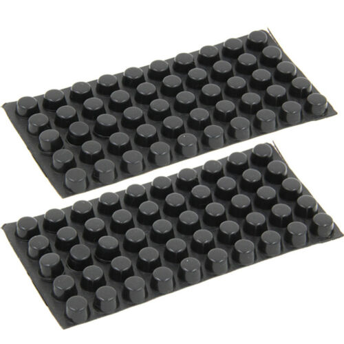 Self Bumpons Adhesive Feet Circles Black Silicone Rubber Cylindrical Flat