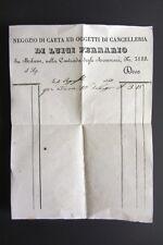 Ricevuta NEGOZIO CARTA OGGETTI CANCELLERIA LUIGI FERRARIO Milano Armorari 1844