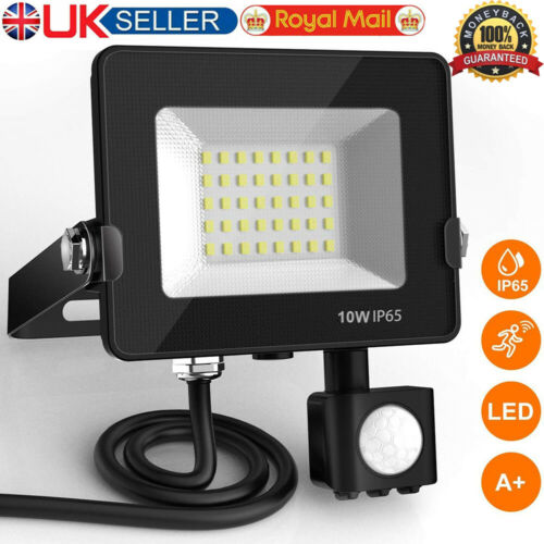 10W LED Floodlight with PIR Motion Sensor Outdoor Security Lights Super Bright