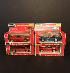 Revell-LOTE-DE-DIECAST-ESCALA-4-1-24-Ferrari-63-Corvette-Stingray-Shelby-Cobra-427