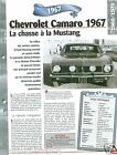 Chevrolet Camaro V8 General Motors 1967 USA Car Auto Retro FICHE FRANCE