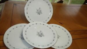 Seyei Fine China Salad Plates Japan Teresa service 4 #3536 EUC platinum trim