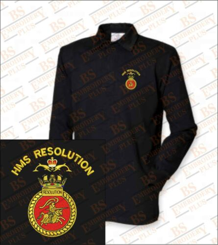 HMS RESOLUTION Embroidered Crested Premium Long Sleeved Rugby Shirt