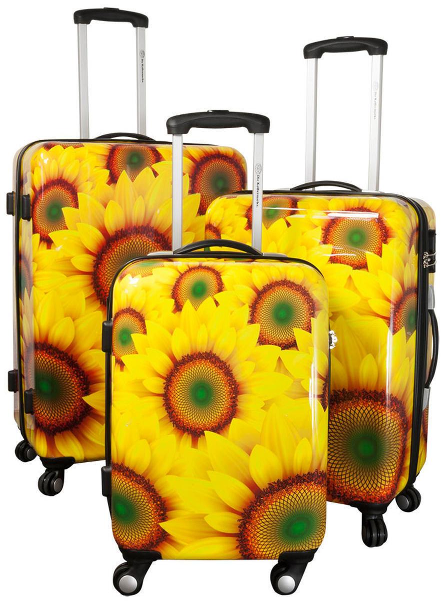 Set ou unique valises de voyage à coque rigide trolley 4 roues motif tournesols