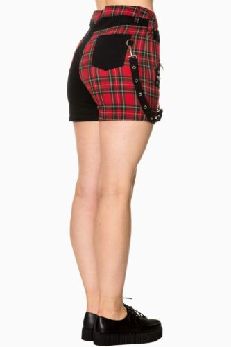 Banned Tartan Hot Hot Pantaloncini Pant Rockabilly Red Apparel By Gothic 4q8xwn1xa