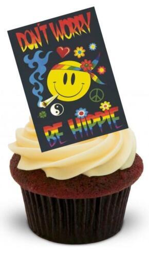 Nouveauté ne vous inquiétez pas être hippie 12 debout comestibles gâteau toppers anniversaire hippy 60s