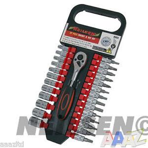 Heavy-Duty-27pc-1-4-034-Drive-Socket-Ratchet-Wrench-Hex-Star-Torx-Bits-Tool-Set