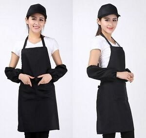 New-Women-Solid-Cooking-Kitchen-Restaurant-Bib-Apron-Dress-with-Pocket-Gift-vK