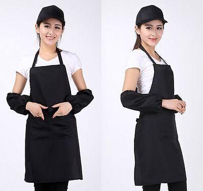 New Women Solid Cooking Kitchen Restaurant Bib Apron Dress with Pocket Gift LAJ