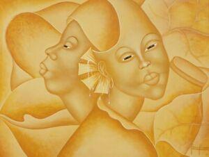 Signed PIERRE PRINAVIL Contemporary Haitian Art WOMEN IN YELLOW Painting Haiti