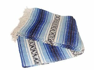 Mexican Blanket Caribbean Blue Handwoven Throw HEAVYWEIGHT PREMIUM Falsa Yoga