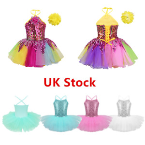 UK-Kids-Girl-Sequin-Ballet-Dance-Tutu-Dress-Ballerina-Dancewear-Leotard-Costumes
