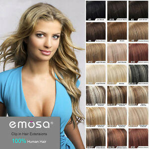 Emosa clip in hair extension natural human hair soft remy image is loading emosa clip in hair extension natural human hair pmusecretfo Images