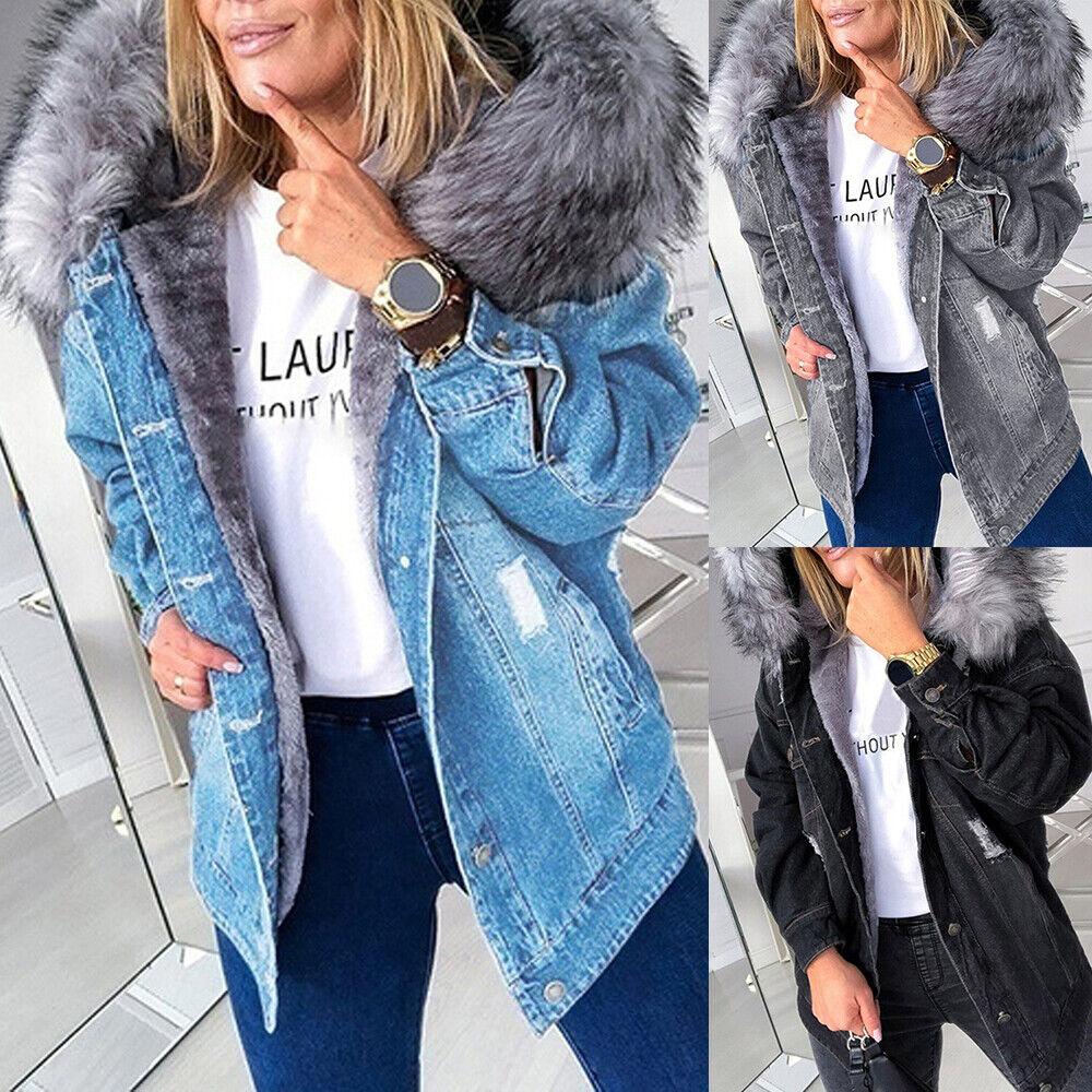 Women Faux Fur Collar Denim Jacket Casual Hooded Trucker Winter Warm Jeans Coat