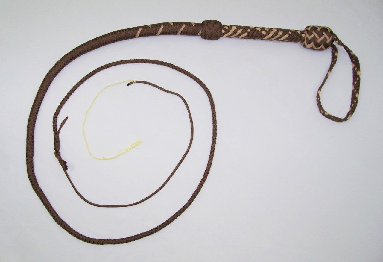 6 Foot 16 Plait Brown & Tan NYLON Well-weighted  SHOT LOADED Real Bullwhip whip