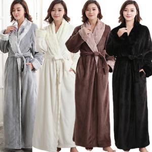 ed3cd78733 Image is loading Men-Women-Flannel-Bathrobe-Couple-Soft-Cozy-Dressing-