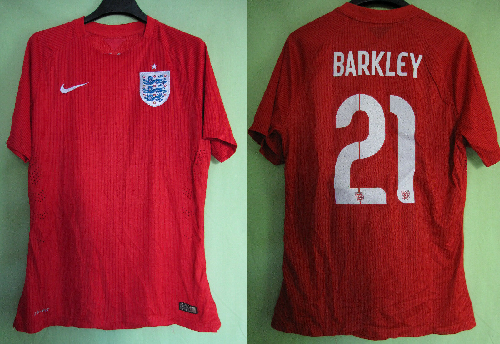 Maillot Agleterre England Away Football Jersey 2014 Barkley Vintage - L