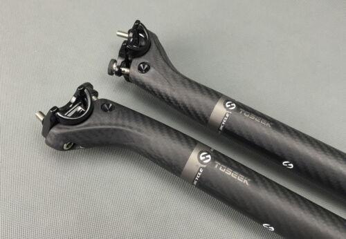 TOSEEK Carbon Seat Saddle post Seatpost 27.2 30.8 31.6*350 400mm MTB Road Bike