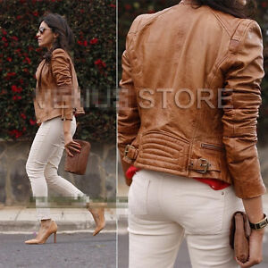 Women ZiP Quilted Motorcycle faux Leather Biker Jacket baseball ...