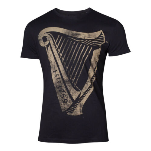 Black TS133608 TS133608GNS-S Guinness Male Distressed Harp Logo T-Shirt Small