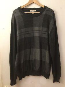 Pronto Uomo Charcoal Gray Striped Crewneck Sweater, Size 2XL