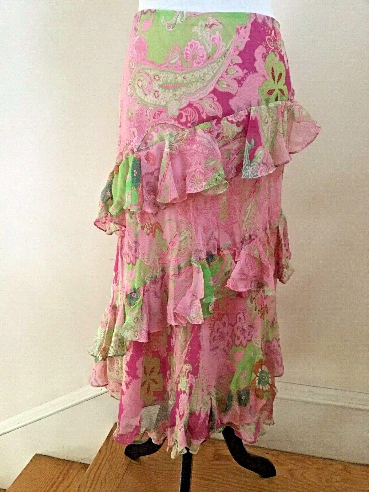 LAUREN by Ralph Lauren Pink Tiered Ruffled Silk Skirt - Size M