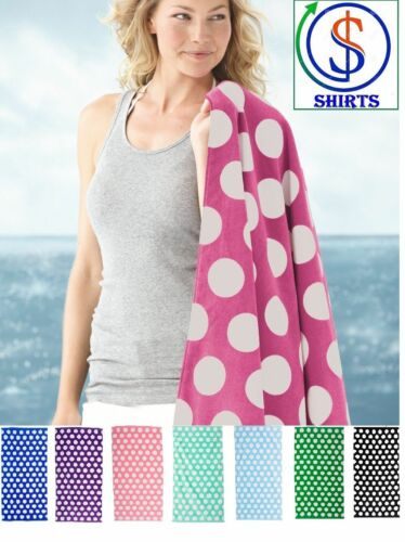 C3060P Carmel Towel Company Polka Dot Velour Beach Towel