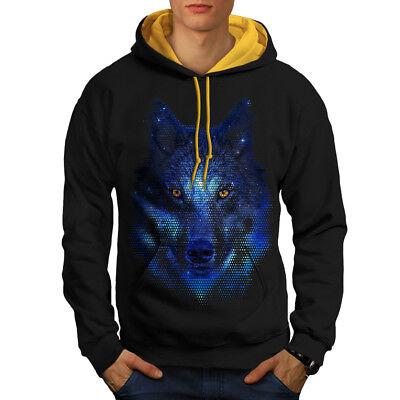 Klug Wellcoda Forest Wolf Pixel Life Mens Contrast Hoodie, Movie Casual Jumper