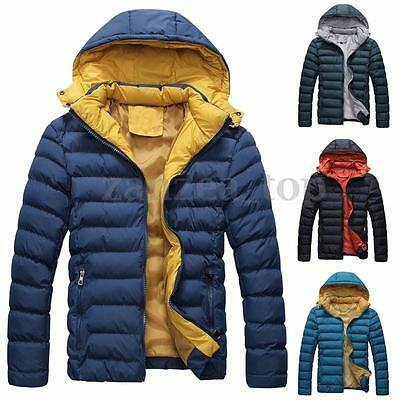 New Men's Winter Warm Casual Slim Padded Down Coat Zipper Hooded Jacket Overcoat