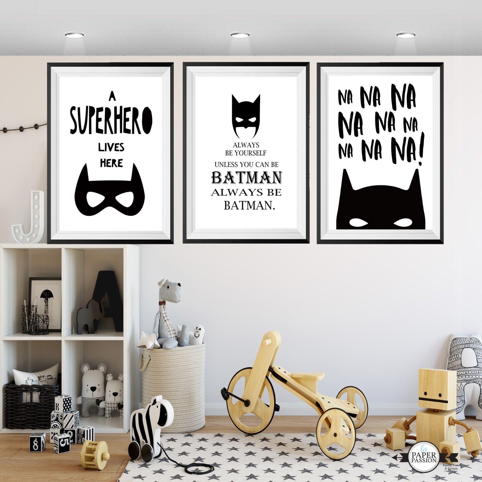 Batman wall prints, Superhero wall art prints, Boys wall prints,Nursery prints