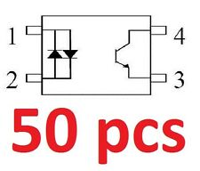 50 pcs ISP814 Optocoupler, Isocom, AC Input, 4-pin DIP, Optoisolator