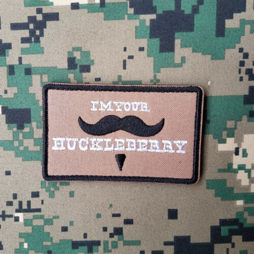 I/'M YOUR HUCKLEBERRY MILITRAY TACTICAL MORALE EMBROIDERED HOOK PATCH DESERT TAN