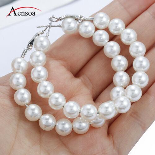 Women Circle Pearl Hoop Statement Geometric Dangle Drop Earrings Fashion Jewelry