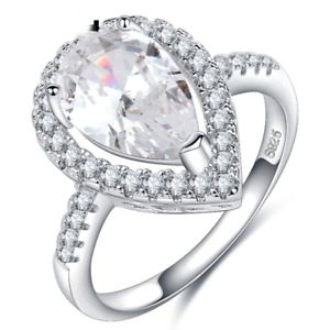 Blanc d/'œuf cristal 925 Argent Plaqué Bijoux de Mariage Fiançailles Anneau Mariage