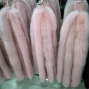 Top-Quality-Real-Pink-Fox-Fur-Hood-Trimming-Scarf-80-10cm-31-5X4-034-inch-US-stock