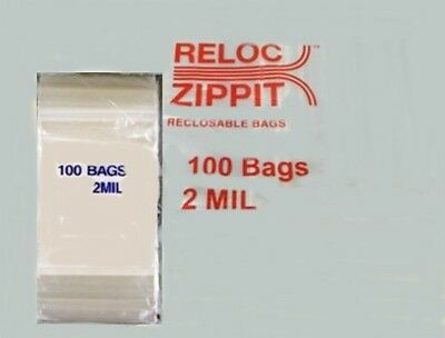 "ZIPLOCK,RECLOSABLE CLEAR BAGS 4/"" x 4/""  100 pcs 2 MIL /""BEATS ULINE PRICE/"""