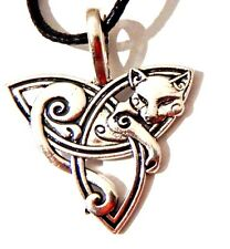 SMALL SLEEPING CAT TRIQUETRA Celtic knot trinity necklace kitty pendant Norse 1G