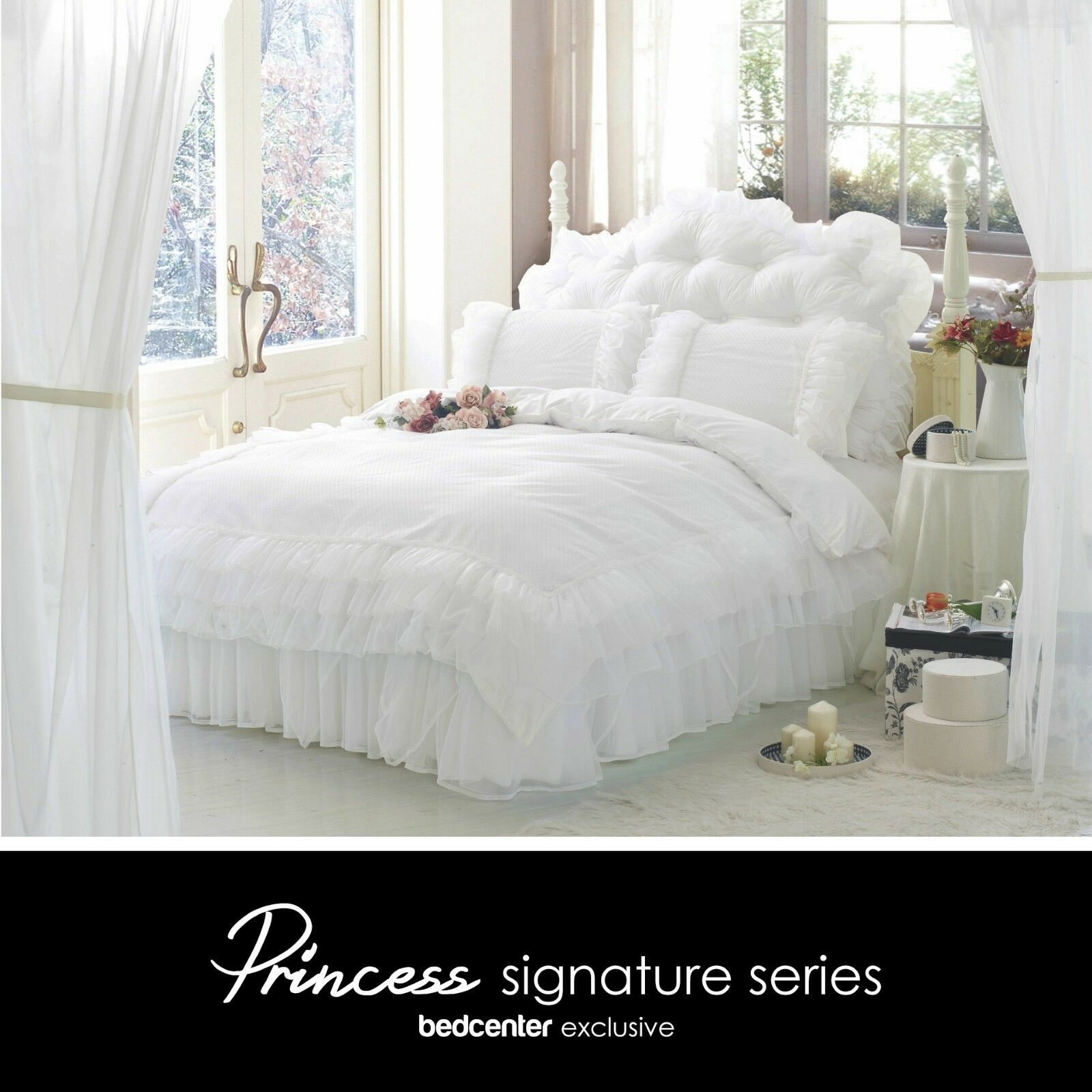 Luxury Weiß Ruffle Lace Quilt Duvet Cover Bedding Set Full Queen King Bedding
