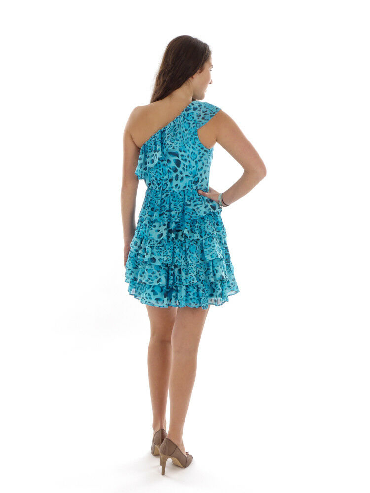 Richard Kravetz Mini Dress Frilled Dress Dress Dress blue Pattern One Shoulder f5ac3a