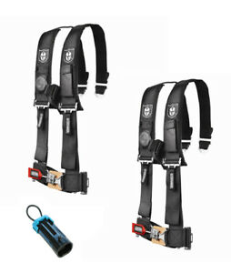"""PRO ARMOR 4 Point Harness 3/"""" Pads Seat Belt PAIR W// BYPASS RED RZR 900S 1000S"""