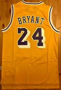 Kobe Bryant LOS ANGELES LAKERS #24 jersey gold throwback. stitched ...