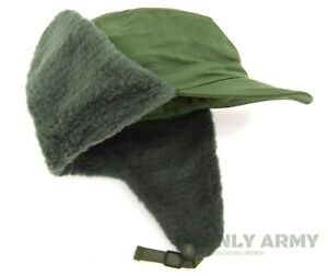 Swedish-Army-Cold-Weather-Hat-Winter-Trapper-Olive-Green-Military-Surplus-NEW
