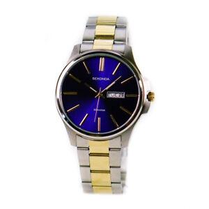 f7e82af24f82 Sekonda 1440 Blue Dial Two Tone Stainless Steel Bracelet Mens Watch ...