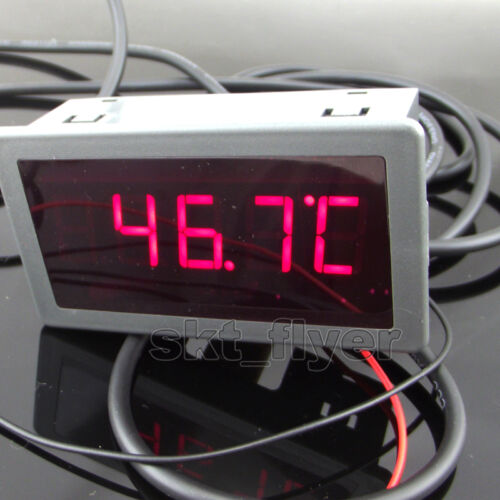 1pcs 2m F/C Digital LED 12V dc Car Temp Meter Thermometer DS18B20 Sensor Temp