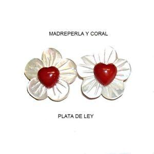 Nett Ohrringe Der Perlmutt Blumen, Koralle Rot Herz 6 Mm Und Silber Gesetz 925 Online Rabatt