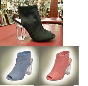 417428ef958 Details about Open Toe Chunky Lucite Clear Heel Ankle Boots #Gulon-s