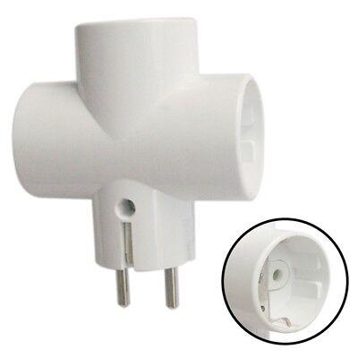 Mehrfach Schuko Steckdose Adapter 3-fach Weiss T-form Kindersicherung