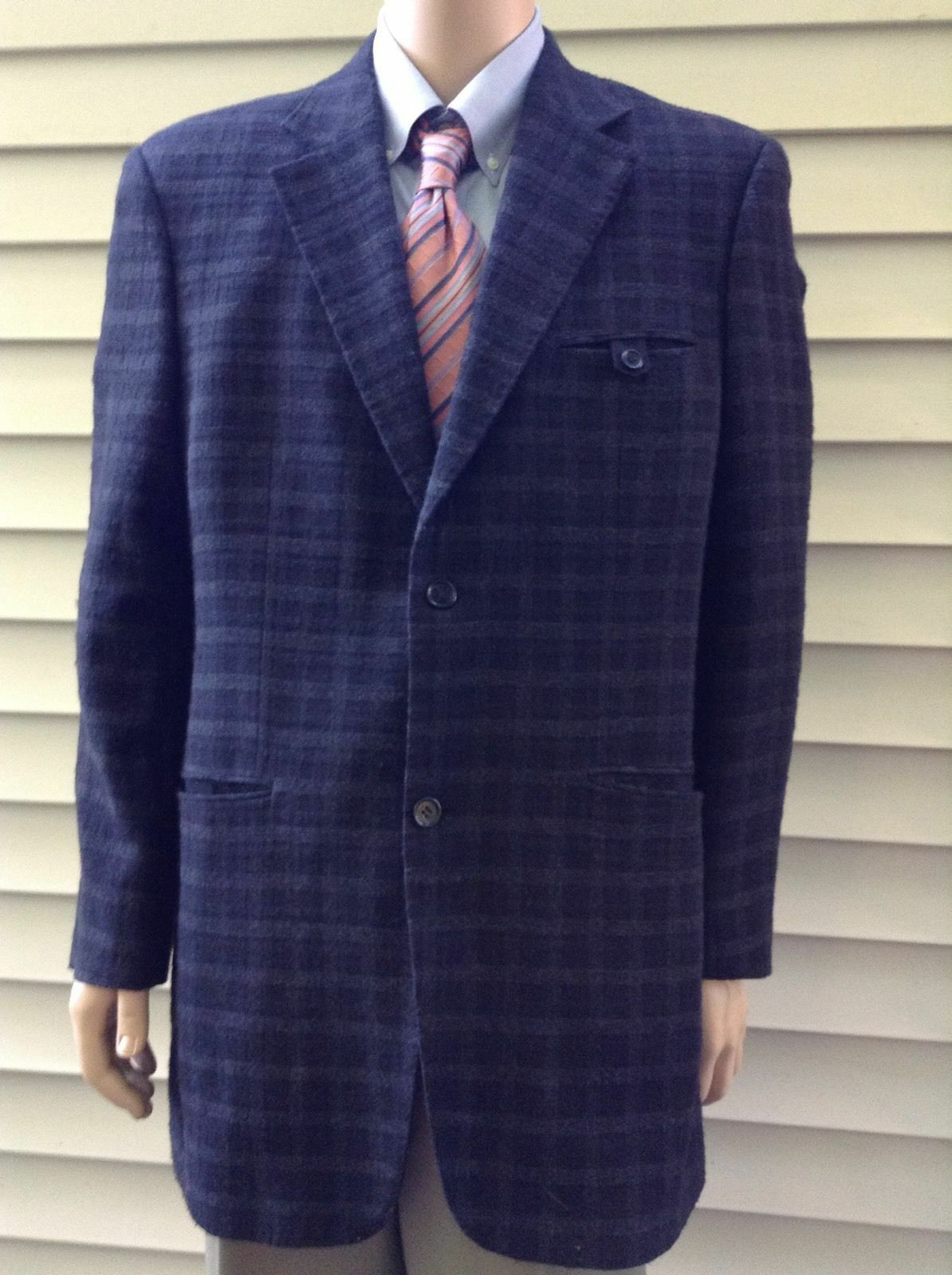 Haupt Navy Blau Plaid Two Button Fully Lined Single Vent Blazer Sportcoat 42L