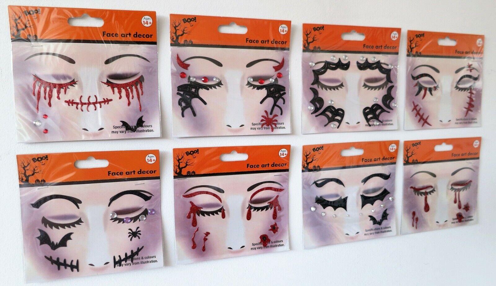 Temporary Halloween Tattoo Face Gems Jewels Glitter Make Up Stickers Stitches