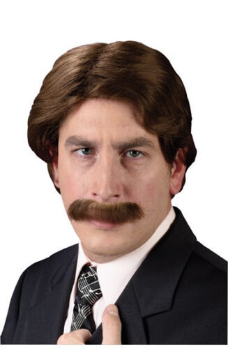 Ron Burgundy Wig And Mustache Anchorman Movie Will Ferrell News Reporter Legend